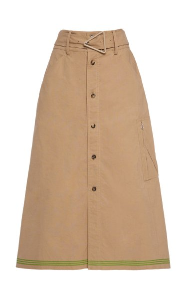 Belted Cotton Midi Skirt