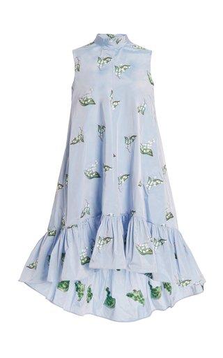 Embroidered Taffeta Shift Dress