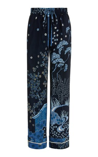 Toile-Print Silk Drawstring Lounge Pants