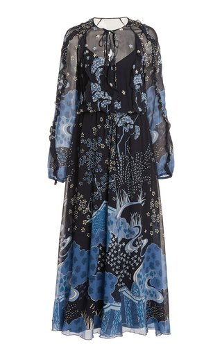 Toile-Print Silk Midi Dress