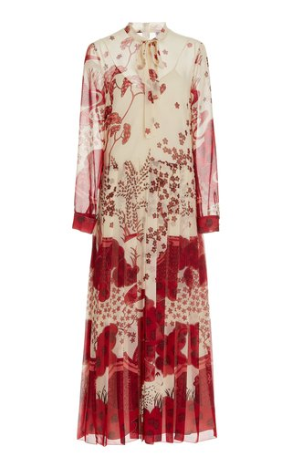 Pleated Toile-Print Georgette Maxi Tie-Neck Dress