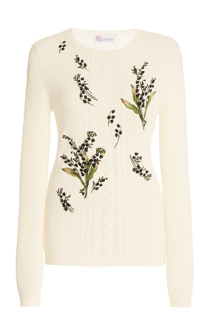 Floral-Embroidered Wool Sweater