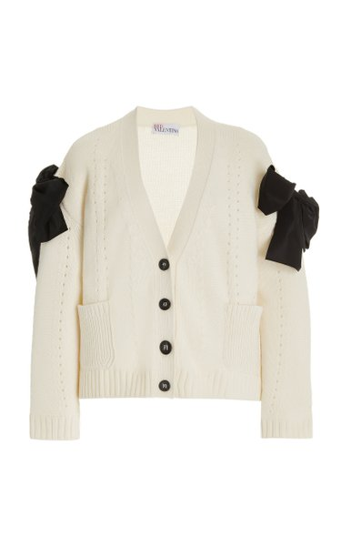 Bow-Detailed Pointelle-Knit Cardigan
