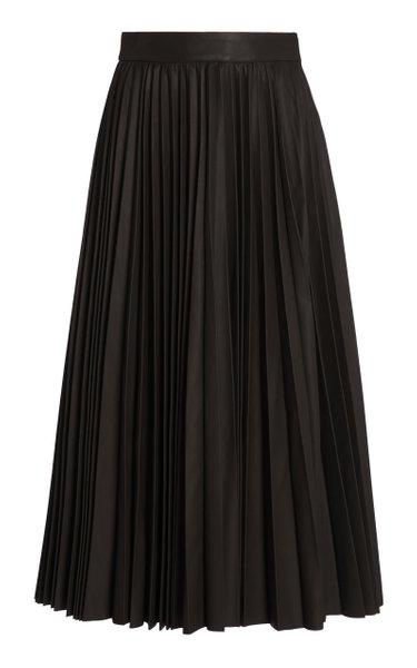Pleated Leather Midi Skirt