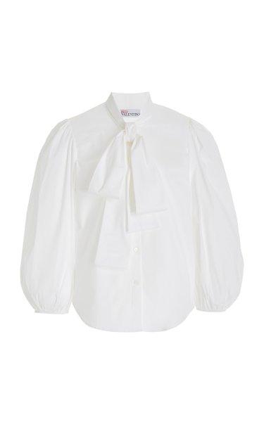 Puffed-Sleeve Cotton-Blend Tie-Neck Shirt