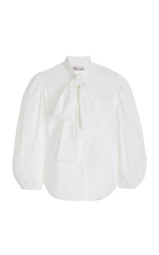 Puffed-Sleeve Cotton-Blend Tie-Neck Shirt