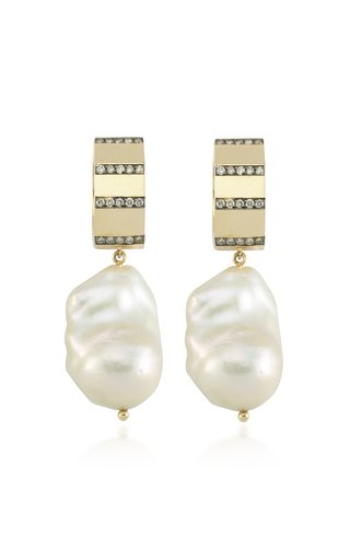 La Vie 14K Yellow-Gold and Diamond Baroque Pearl Hoops