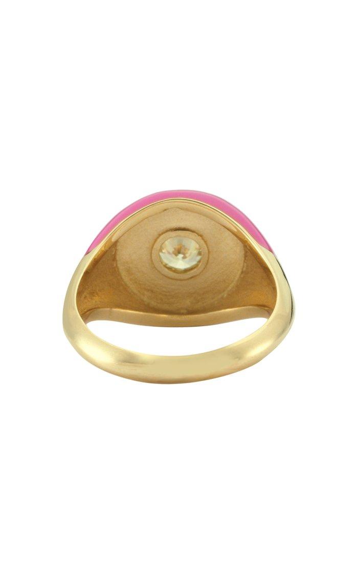 Les Bonbons Quartz, Enameled 14K Yellow Gold Ring