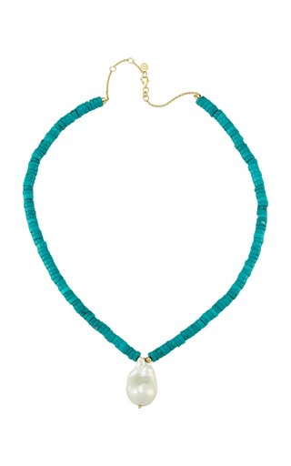 Les Bonbons Pearl, Turquoise 14K Yellow Gold Necklace
