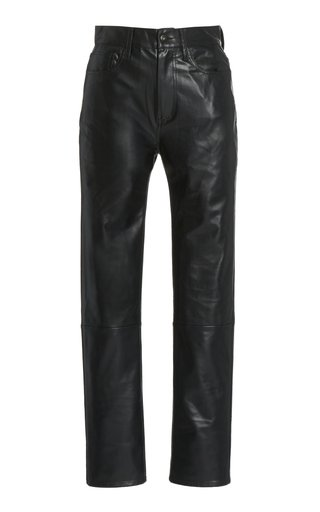 Vegan Leather Straight-Leg Pants