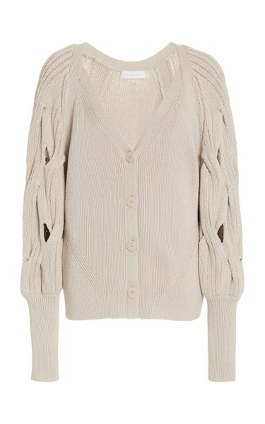 Kinley Cotton-Blend Cable-Knit Puff-Sleeve Cardigan