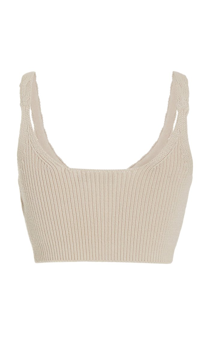 Elsa Cotton-Blend Cable-Knit Bra Top