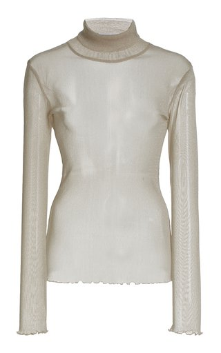 Charli Metallic Tulle Turtleneck Top