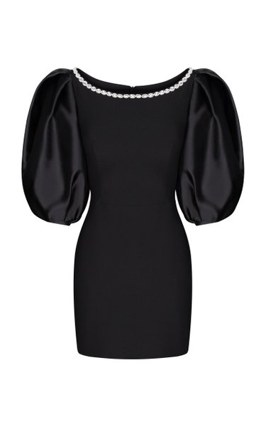 Puff-Sleeve Crystal-Embellished Crepe Mini Dress