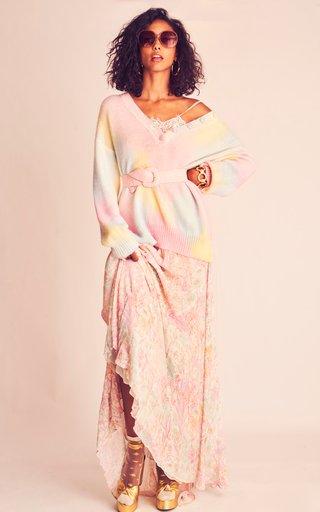 Elma Lace-Trimmed Floral Georgette Maxi Slip Dress