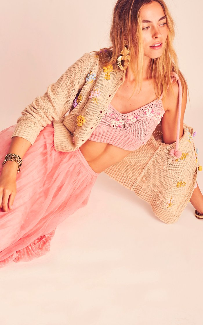 Lago Floral-Embroidered Knit Crop Top