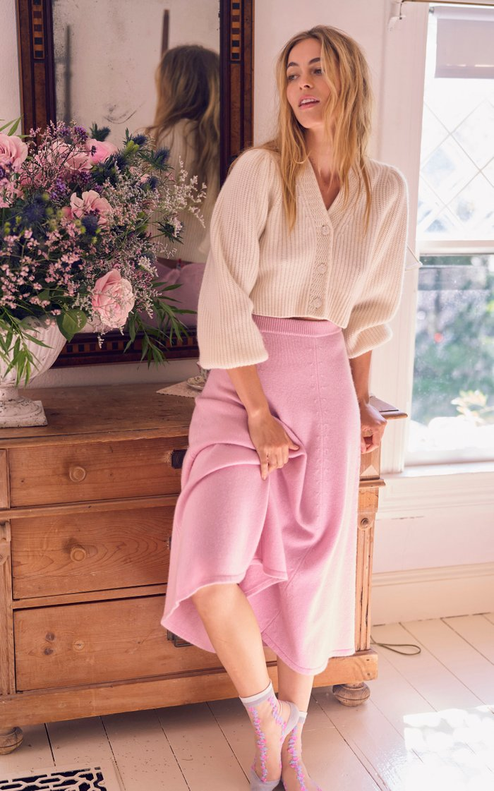 Avignon Puff-Sleeve Wool-Cashmere Cropped Cardigan