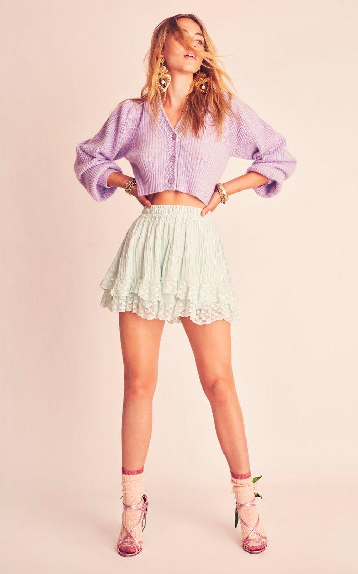 Toya Lace-Trimmed Cotton Mini Skirt