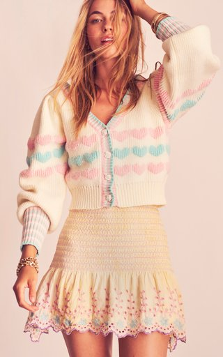 Buena Heart-Woven Cotton-Blend Cropped Cardigan
