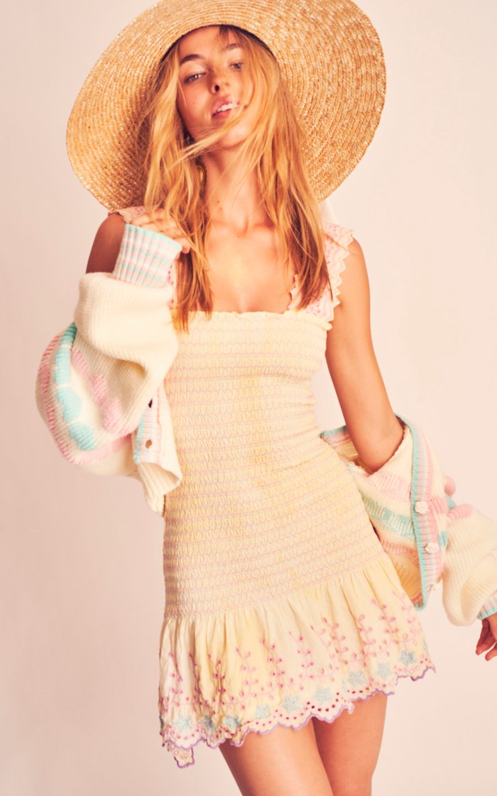 Jax Eyelet-Trimmed Smocked Cotton Mini Dress