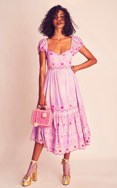 Magena Embroidered-Eyelet Cotton Midi Dress