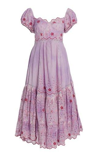 Magena Embroidered-Eyelet Cotton Midi Dress