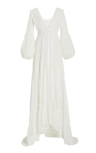 Donnie Embroidered-Eyelet Swiss Dot Cotton Maxi Dress