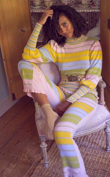 Crosby Metallic Striped Cotton-Blend Mock-Neck Sweater