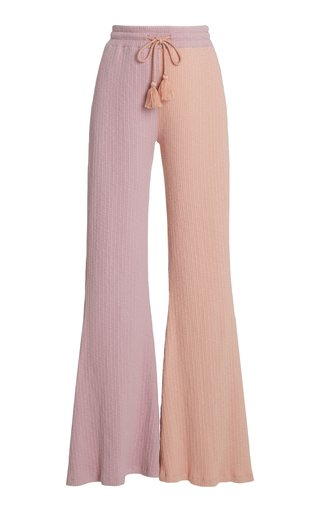 Flores Two-Tone Ribbed-Knit Flared-Leg Pants
