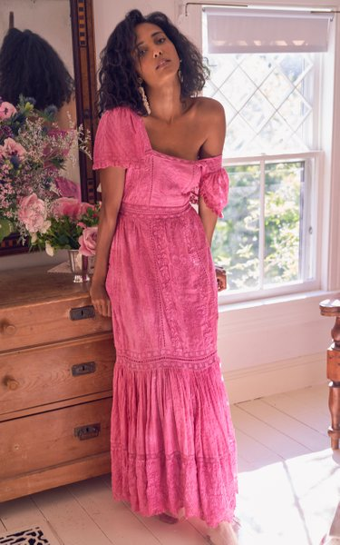 Norma Lace-Trimmed Embroidered Cotton Maxi Dress