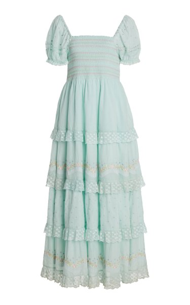 Capella Tiered Lace-Trimmed Smocked Cotton Maxi Dress