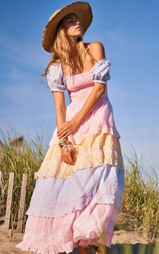 Capella Tiered Color-Block Smocked Cotton Maxi Dress