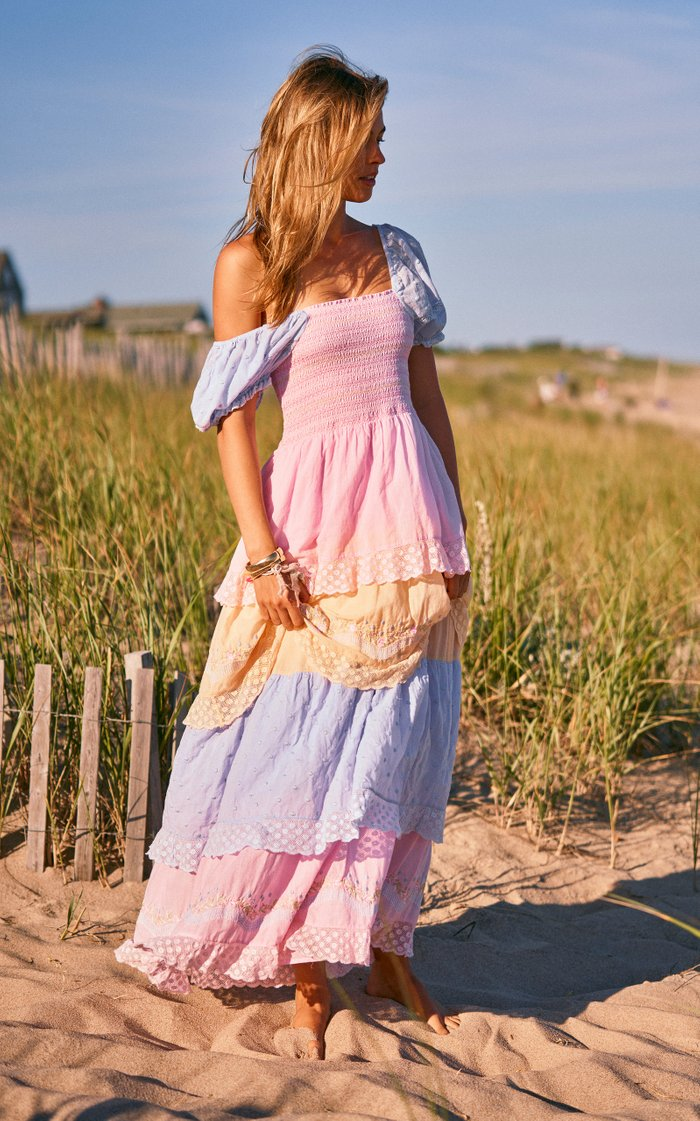 Capella Tiered Color-Block Smocked Cotton Maxi Dress