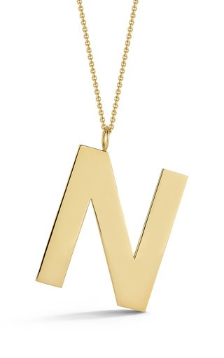14K Yellow Gold Hand Cut Initial Charm Necklace