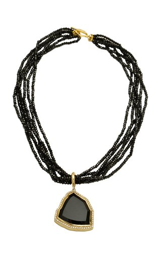 Multi Strand 18K Black Spinel Necklace with Detachable Tourmaline and Diamond Pendant