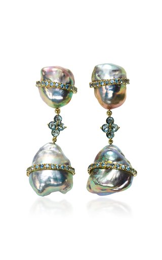 18K Yellow-Gold Baroque Pearl and Sapphire Drop Earrings
