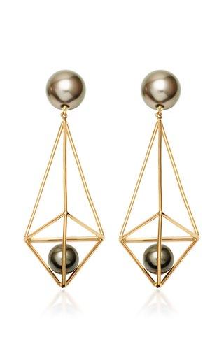 Terrarium 18K Yellow Gold Pearl Earrings