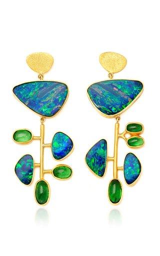 Kinetic 22K Yellow Gold Opal and Tsavorite Earrings