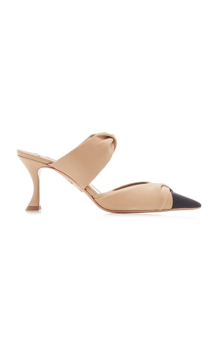 Twist-Accented Leather Mules