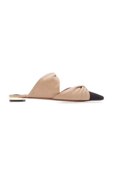 Twist-Accented Leather Mule Flats
