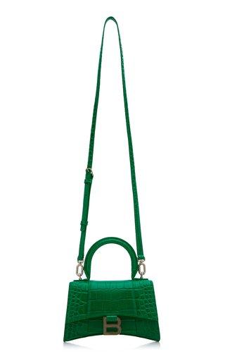 Hourglass XS Croc-Effect Leather Top Handle Bag