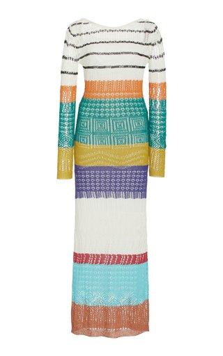 Striped Crochet-Knit Maxi Dress