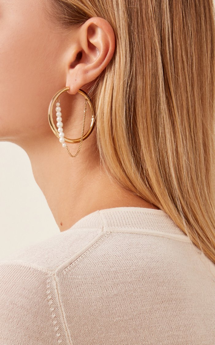 Riley Pearl-Embellished 12K Gold-Plated Earrings