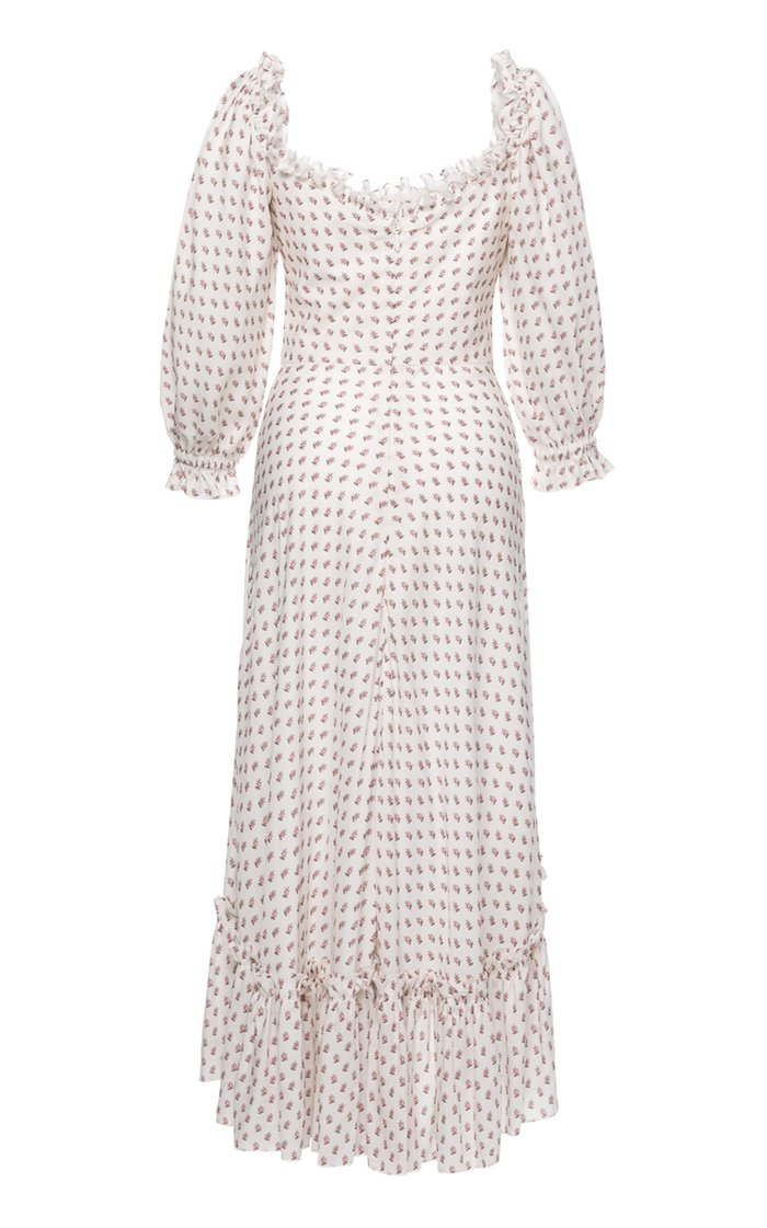 Charmeuse Ruffle-Trimmed Crepe Midi Dress