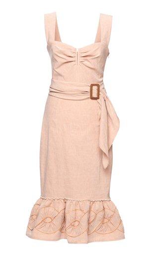 Amante Appliqued Linen-Blend Midi Dress