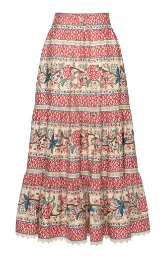 Sans Souci Printed Cotton Midi Skirt