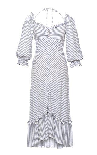 Charmeuse Ruffle-Trimmed Striped Jersey Midi Dress
