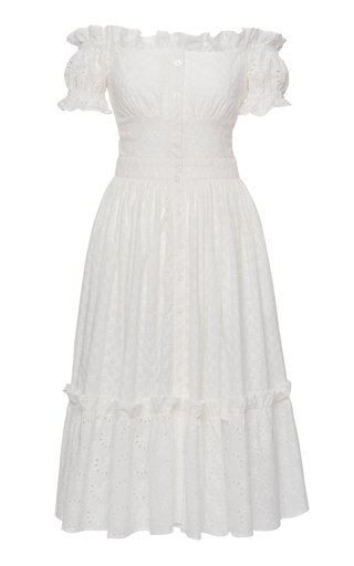 Frou Frou Off-The-Shoulder Eyelet-Embroidered Cotton Midi Dress