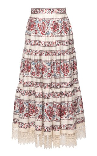 Paysanne Lace-Trimmed Printed Cotton Midi Skirt