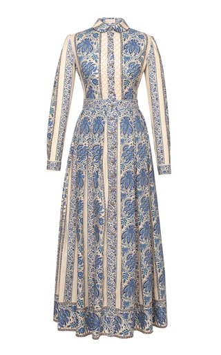 Liberté Lace-Inset Printed Cotton Maxi Shirt Dress